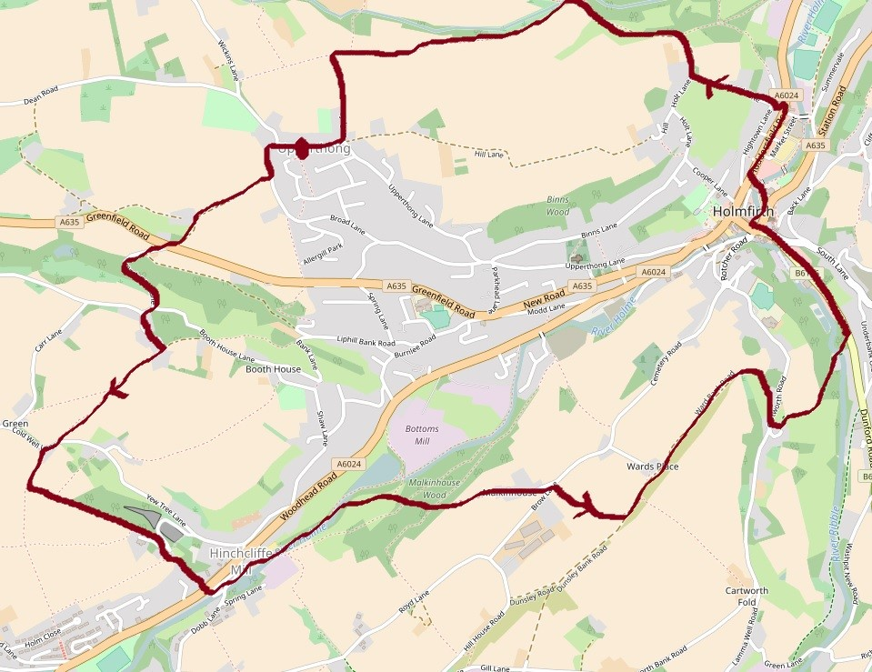Holmfirth Upperthong map