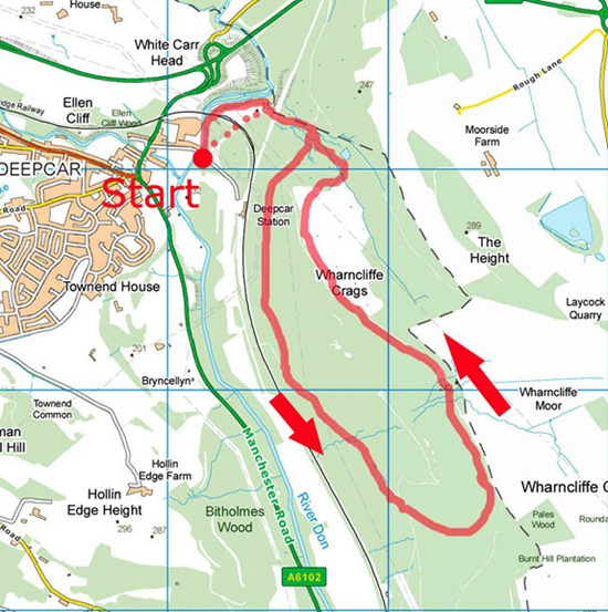 Wharncliffe Crags walk map