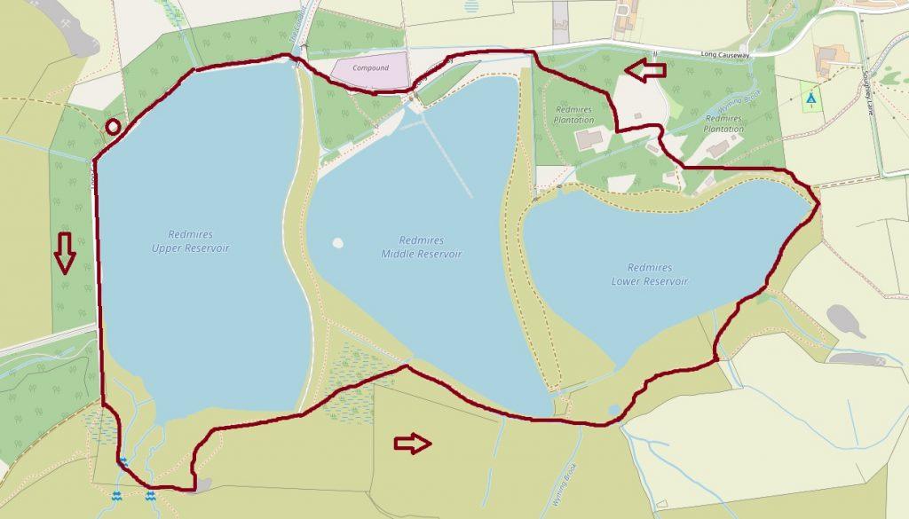 Redmires Reservoirs Circular walk map