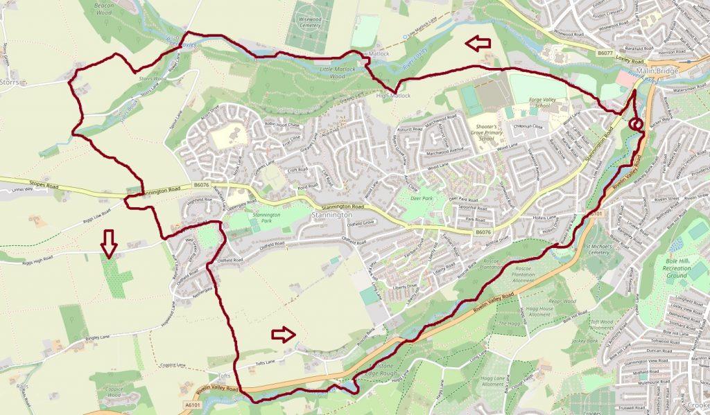 Rivelin circular walk map