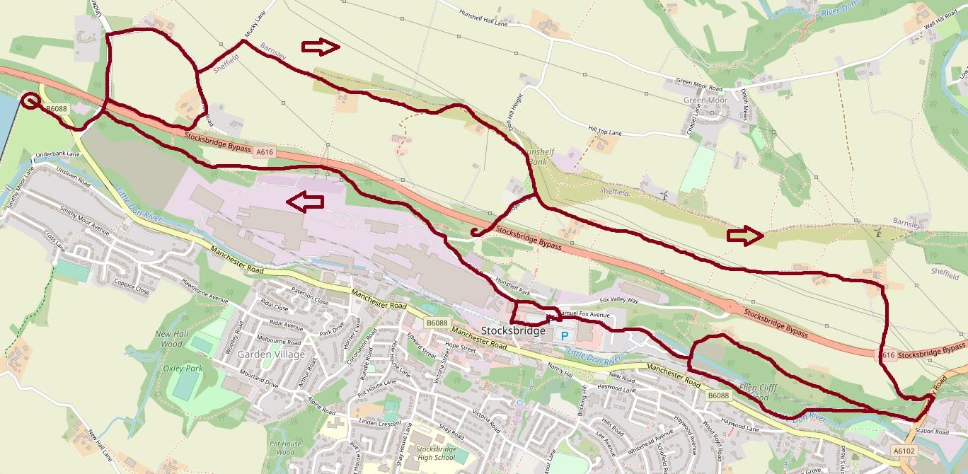 Hunshelf walk map