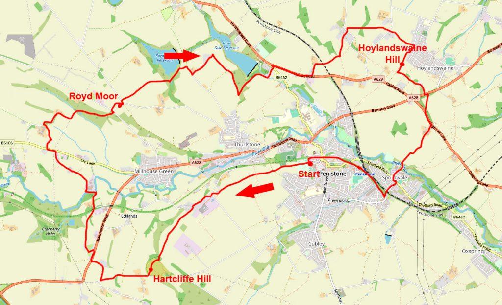 Penistone Three Peaks walk map