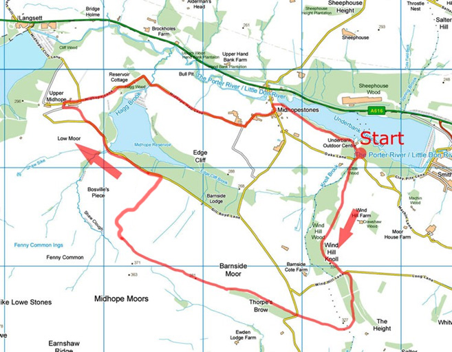 Midhope Moor walk map